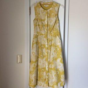 NWOT Boden 6L Yellow Floral Paisley Dress